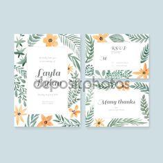 Düğün kartları koleksiyonu - Stok İllüstrasyon: 77035875