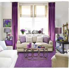 """Do we dare drape each ugly wooden box in drapes the colour of the room? """"Purple Room"""" by sweetannie on Polyvore"""