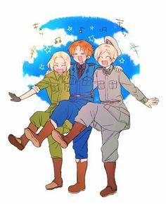 I'll present you the happy trio! Hetalia Funny, Hetalia Fanart, Hetalia Anime, Geeks, Poland Hetalia, Girly Man, Latin Hetalia, Hetalia Axis Powers, Anime Manga