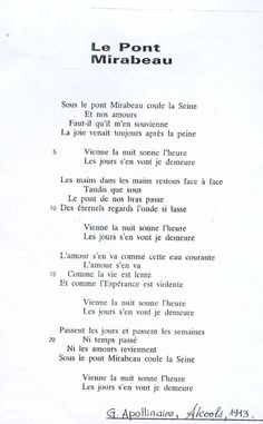 The poem I had to memorize to pass my year in french I fell in love with this poem by Guillaume Apollinaire - Le Pont Mirabeau - Intellego. The Words, Cool Words, French Poems, French Quotes, Poetry Quotes, Words Quotes, Sayings, French Flashcards, French Language Lessons
