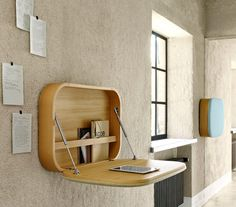 A wall mounted desk is a great space-saving solution to your home office problem. Available in every size, shape and form they are stylish and functional. Folding Furniture, Space Saving Furniture, Home Furniture, Modern Furniture, Office Furniture, Simple Furniture, Cheap Furniture, Antique Furniture, Furniture Ideas