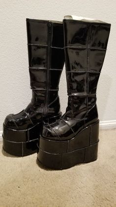 Demonia Pleaser Stack 301 Platform Boots on Mercari Pretty Shoes, Cute Shoes, Me Too Shoes, Combat Boots Heels, Shoes Heels, Alternative Shoes, New Rock Boots, Goth Boots, Dream Shoes