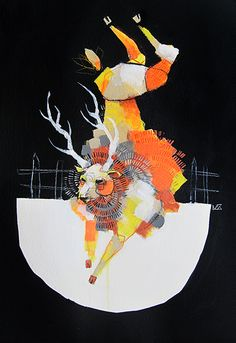 'Deer Jumping the Fence' painting by Michael Cain- Gnashing Teeth (gnashingteeth)