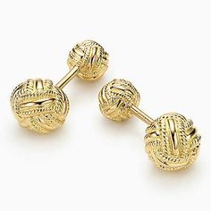 Tiffany & Co. Schlumberger® Woven Knot cuff links in 18k gold.