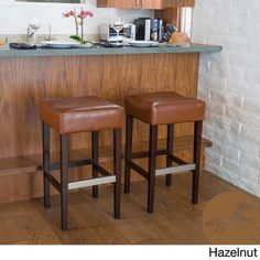 Purchase Barto Hazelnut Leather Backless Bar Stools (Set of from GDFStudio on Dot & Bo. Share and compare all Home. Bar Chairs, Dining Chairs, Extra Tall Bar Stools, Home Bar Furniture, Furniture Decor, Backless Bar Stools, Leather Bar Stools, Bar Seating, Kitchen Stools