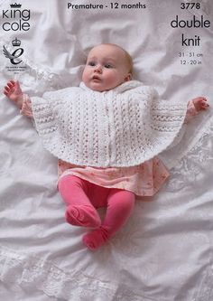 Knitting pattern for Baby Cape from King Cole. This lace cape is so cute and I'm betting it is faster and easier than a sweater. I bet you could knit it as a poncho too. Premature to 12 months. Matching jacket pattern also included. More pics at Deramores (affiliate link) tba