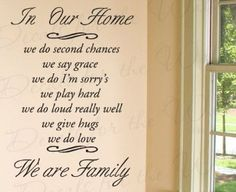 Amazon.com - In Our Home We Do Second Chance Say Grace I'm Sorry's - Love Home Family - Wall Decal Quote, Decorative Vinyl Sticker Graphic A...