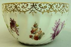 Antique Dresden Hand Painted Floral Design Bowl C.1890 2