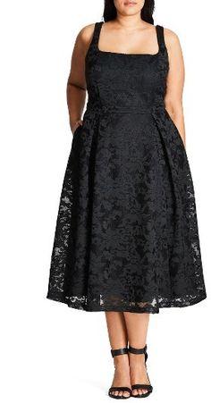 Plus Size Lace Fit & Flare Dress - Plus Size Fashion for Women