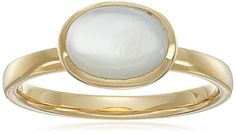 18k Gold Plated Sterling Silver Oval Mother of Pearl 9x7mm Ring Size 6 * More info could be found at the image url.(It is Amazon affiliate link) #followback