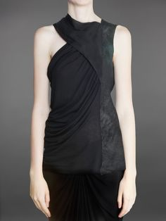 Rick Owens // SLEEVELESS DRAPED TOP WITH LEATHER PANEL