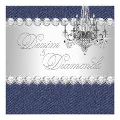Denim and Diamond Party Invitations