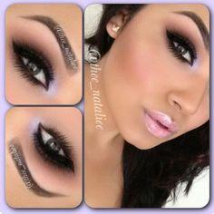 Matte Neutral Eye Makeup - Winged Eyeliner - Lashes - Light Pink Lips @Cyndi Price Haynes Green