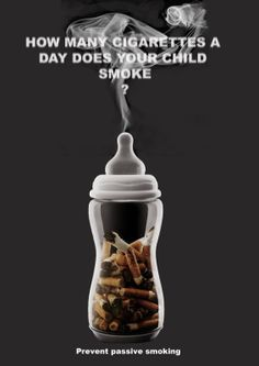 This is a poster I devised for an anti-passive smoking awareness campaign. After doing some research of my own, interviewing smokers and non smokers one of the most effective ways to target adult s… Creative Advertising, Ads Creative, Creative Posters, Advertising Poster, Advertising Design, Social Advertising, Creative Photos, Advertising Campaign, Creative Design
