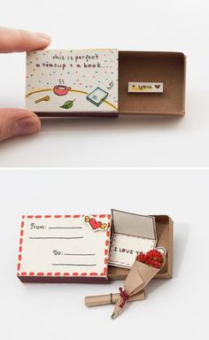 "Quirky & Cute Matchbox-Cards Help You Profess Your Love Inspired by greeting car., Quirky & Cute Matchbox-Cards Help You Profess Your Love Inspired by greeting cards, gift boxes and all things miniature, these tiny ""cards"" are . Matchbox Crafts, Matchbox Art, Easy Diy Gifts, Creative Gifts, Handmade Gifts, Handmade Valentine Gifts, Handmade Christmas, Creative Ideas, Valentines Bricolage"