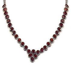 Garnet Y-necklace, `Cascading Crimson` - Fair Trade Garnet Choker Necklace Sterling Silver Love