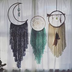 Second set of dream catchers. Listing in left to right order 1 2 3 order. Please leave your email and number of dream catcher. Plus up close photo of 1 and 3 will follow. #1 la Luna- moon measures 15in from top of moon to end of fringe 43in long. The moon is made of bamboo and it has two pieces of agate. It's a grounding stone which enhances love, abundance, wealth, good luck, longevity, harmony and truthfulness. SOLD #2 Aqua and white dream catcher- 10 in hoop 32in from top of hoop to end…