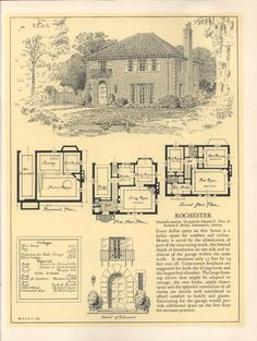 'The Rochester' from Seventy-two designs for fireproof homes. #vintage #houseplan