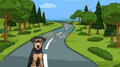 A Cute Airedale Terrier Pet Dog With A Winding Country Road Background:  A dog with curly brownish beige and black fur droopy ears and beard sits on the floor while looking ahead and A beautiful country road with gray pavement and white lines surrounded by lush green grass and multiple trees