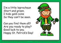 Patrick's Day Leprechaun Song and Gold Hunt Activity by Kathy Griffin patricks day preschool St. Patrick's Day Leprechaun Song and Gold Hunt Activity St Patricks Day Songs, St Patricks Day Crafts For Kids, St Patrick Day Activities, Spring Activities, Halloween Activities, Party Activities, March Crafts, Colors, Ireland