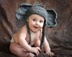 Pattern Elephant Baby Hat Alabama Crochet Quick and Easy Beanie Toboggan Animal Newborn Costume Boy Girl Gift