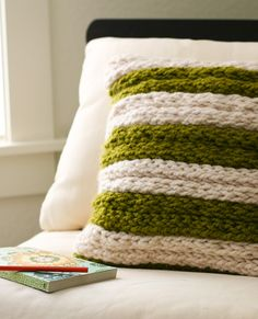 DIY Project: Chunky finger-knit pillow #designsponge http://www.designsponge.com/2012/05/diy-project-chunky-finger-knit-pillow.html