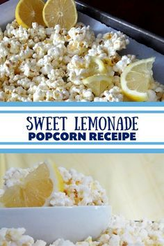 Light, sweet and delicious Sweet Lemonade Popcorn Recipe that is SO quick and easy to make. Perfect spring recipe that will have you in the mood for sunshine. Kids and adults alike will love this recipe! Candy Popcorn, Flavored Popcorn, Gourmet Popcorn, Popcorn Snacks, Popcorn Balls, Homemade Popcorn Seasoning, Popcorn Kernels, Pop Popcorn, Appetizer Recipes