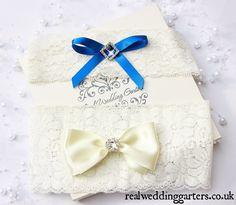 Something Blue Wedding Garter, Blue and Ivory Wedding Garter, Lace Wedding Garter, Royal Blue, Bridal Garter, Wedding Garter Gift Set by realweddinggarters on Etsy