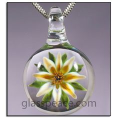 SALE Orange and Yellow Glass Flower Pendant by Glass Peace $15.00
