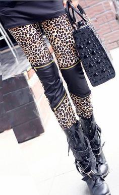 para hacer punto de oriente a67 sexy pantalones de leopardo polainas de cuero de moda 2013 polainas cremallera tramo damas pantalones de envío gratis