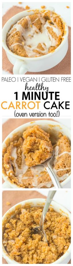 Healthy One Minute Carrot Cake which is moist, fluffy yet tender on the outside- A delicious snack or healthy dessert to enjoy anytime- Oven version too! {vegan, gluten free, paleo recipe}- thebigmansworld.com