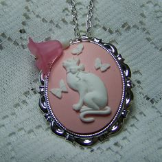 Cat Pendant   Butterfly Kitty  Cat Necklace  by SouthernBelleOOAK