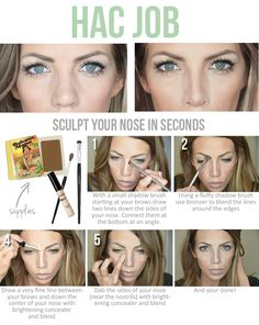 I just have to pin this because I can't believe it! Learn how to contour your nose. Life changing I tell ya!