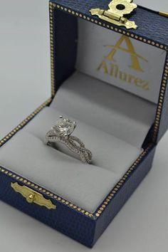 Infinity Diamond Engagement Ring with Band 14k White Gold (0.65ct) - Allurez.com