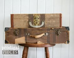 Antique Set of Gadabout Luggage Suitcases ~ Photography Prop ~ Industrial Farmhouse Cottage Chic Steampunk Decor by Prodigal Pieces on Etsy. www.prodigalpieces.com