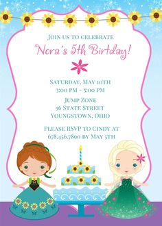 Frozen Fever Birthday Invitation by MyPaperGardenLLC on Etsy