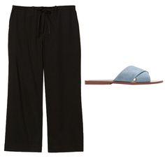 Shop the look: Theory Tennen pants, $148; theory.com. Zara crossover leather sandals, $40; zara.com.