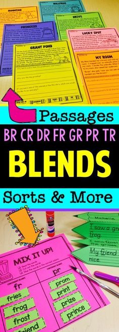 Consonant Blends - Br, Cr, Dr, Fr, Gr, Pr, Tr Activities that includes reading passages, small group activities, warm up/brain break activities, worksheets, word work, and more! Most of the activities are for initial blends. There are some activities for middle and/or ending blends.