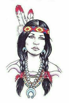 Native American Tattoo Designs For Girls Native American Drawing, Native American Tattoos, Native Tattoos, Native American Girls, Native American Artwork, Native American Symbols, American Indian Art, American Women, American History
