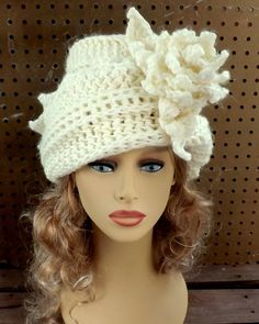 Ivory Crochet Hat Womens Hat Trendy Womens Crochet Hat Steampunk Hat Ivory Hat LAUREN 1920s Cloche Hat Crochet Flower  by strawberrycouture by #strawberrycouture on #Etsy