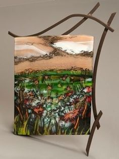 Fused Glass- love the stand and the scene in glass.