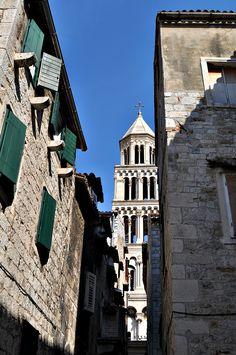 A look down the narrow streets of Split, Croatia.