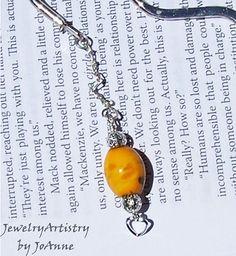 Silver Bookmark With Handmade Yellow Glass Bead by JewelryArtistry
