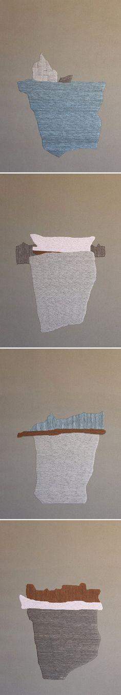 defne tesal - embroidered icebergs on fabric