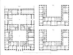 Herzog-Max-Palais (aka Duke-Max Palace) in Munich, floor plans of the ground floor and the two upper floors, 1830.