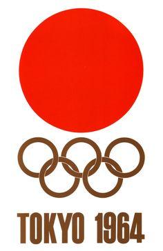 Japanese Poster: Tokyo 1964, Summer Olympics. Yusaku Kamekura. 1964