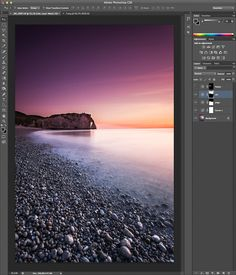 Tutoriel où je décris pas à pas le traitement et retouche sur une photo réalisée à Etretat en pose longue avec Adobe Lightroom 4 et Photoshop cs6