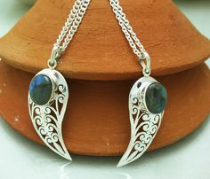 Lockets – 92.5 Sterling Silver labradorite Pendant,necklace  – a unique product by IndianCraftPalace on DaWanda