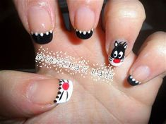 Cat Nail Art, Animal Nail Art, Cat Nails, New Year's Nails, Hair And Nails, Little Girl Nails, Girls Nails, Nail Envy, French Tip Nails