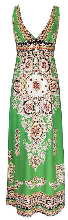 Green Tribal Maxi Dress